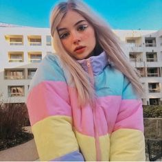 🦄 Problem: cold and dark winter? Fit: wide around the chest and waist Material: Polyester fill, Cotton/poly blend shell S: Sleeve Length Length M: Sleeve Length Length Removable hood Cute Girl Pic, Cute Girls, Aesthetic Girl, Aesthetic Clothes, Puffy Jacket, Looks Vintage, Soft Grunge, Tumblr Girls, Pretty People