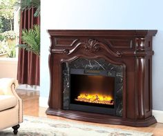 62 quot grand cherry electric fireplace at big lots