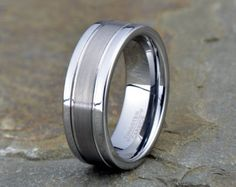 Black Brushed Tungsten Wedding Band Mens by LALaserEngraving