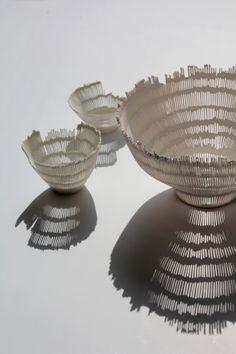 Perforated porcelainbowls by Linda Prüfer