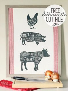 Butcher diagram printed on a tea towel. Makes a great piece of kitchen art. Free Silhouette cut file included