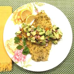 Pistachio Crusted Lemon Sole with Avocados and Dried Apricots