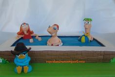 PHINEAS & FERB pool cake, Perry and the Sister - too funny