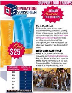 If anyone wants to take part in Operation Sunscreen, send me a message :) www.marykay.com/jsnodderley