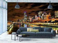 Photo Wallpaper MURAL POSTER Night City Melbourne Skyline & River