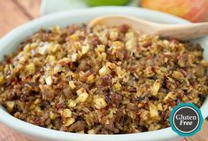 Wild Rice, Jones Sausage and Apple Stuffing - I'm going to make this with beef or turkey  sausage instead