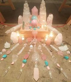 Beautiful alter. I see rose quartz, quartz, selenite, and I\'m not sure what the blues are, but this is very pretty.