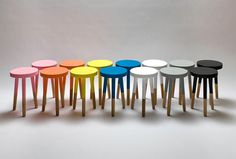 The original UM Project stool. A friendly nod to a universal design with a sleek finish, playful colors and unusual proportions. The original stool is paired with a matching coffee table. The stool is now replaced by the Holy Stool. Dipped Furniture, Painted Furniture, Modern Furniture, Furniture Design, Timber Furniture, Painted Stools, Wooden Stools, Ikea Stool, Paint Dipping