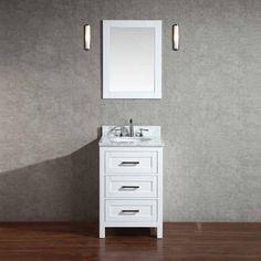 "Stufurhome 24"" Noelle Single Vanity - White/Carrara White Top HD-7020W-24-CR   J.KEATS $899 comes with mirror and hardware"