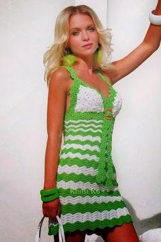 Patrón #109: Vestido Verde a Crochet o Ganchillo. Patrón #109: Vestido Verde a…