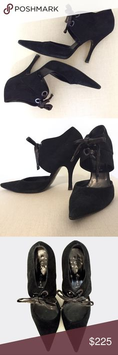 """Casadei Heels // Black Suede // US Size 8 // EU 9 {Listed as """"Chanel"""" for more exposure}   These Casadei Heels are so comfortable!! 100% Authentic - Made in Italy. Black suede. Leather ties. European size 9 fits a standard US size 8. Very Good used condition. Scuffs on the heels-Not noticeable at all when on. Heel taps can be easily replaced by a cobbler. No box. ✨Pet and Smoke free home✨Check out my closet for other NEW listings! Thanks! 💕 CHANEL Shoes Heels"""