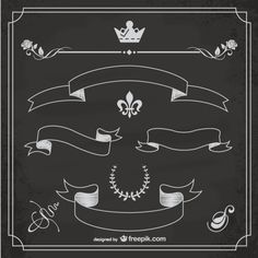 Free banners for chalkboard graphics. Blackboard Art, Chalkboard Vector, Chalkboard Lettering, Chalkboard Designs, Hand Lettering Fonts, Chalk It Up, Chalk Art, Graffiti, Doodles