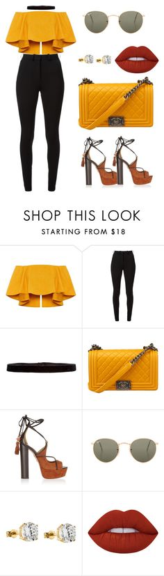 """""""☀️☀️☀️☀️"""" by amoney-1 ❤ liked on Polyvore featuring Victoria Beckham, Steve Madden, Aquazzura, Ray-Ban, IBB and Lime Crime"""