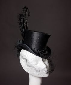 Black Mini Top Hat by HouseofNinesDesign on Etsy
