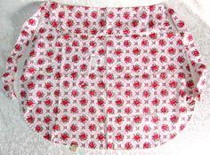 Vintage Half Apron Red White Floral Roses Unused by VintageLinens