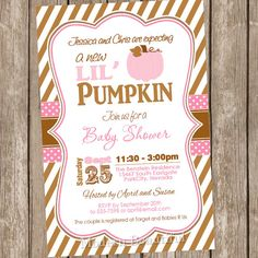 Pink Little Pumpkin Girl Baby Shower Invitations DIY Printable