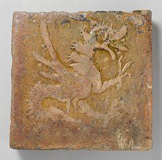 Molded Tile 13th-14th century, Austrian, lead glazed earthenware, from the castle of Kreuzenstein/Waldviertel.  Met Mus.Art
