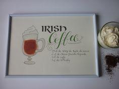 Ingrédients du cocktail Irish coffee : Affiches, illustrations, posters par la-p-tite-sophie