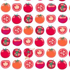 Tomato polka fabric design by coggon / Roz Robinson, on Spoonflower