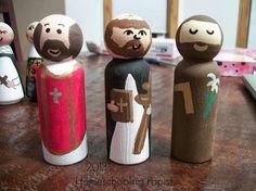 St. Joseph, St. Ignatius, St. Dominic (middle) Saint Peg doll