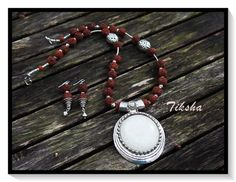 Rudraksh Necklace White Pendant Necklace Silver by TikshaJewelry