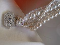 Wedding Pearl braceletcrystal beadsIvory Chunky by galladesign, $45.00