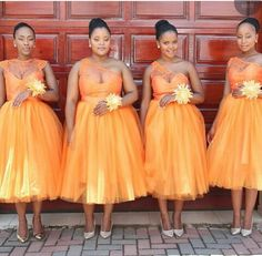 Vintage 2017 Orange Tulle Tea Length Bridesmaid Dresses Cheap One Shoulder Lace Applique Maid Of Honor Gowns African Bridesmaid Dresses, Tea Length Bridesmaid Dresses, Wedding Bridesmaids, Bridal Dresses, African Fashion Dresses, African Dress, Wedding Attire, Wedding Gowns, Snapchat