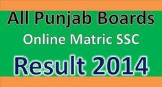 punjab Boards online matric SSC Result 2014
