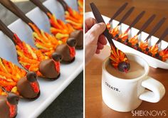 Turkey-shaped chocolate spoons fun and festive treat to serve with coffee and hot chocolate
