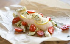 Halibut with artichokes and tomatoes.. YUM! 1 serving recipe for those who live alone like myself