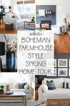 Home Decor Styles Eclectic Bohemian Farmhouse Style Spring Living Room Tour Boho Chic Living Room, Eclectic Living Room, My Living Room, Living Room Decor, Bohemian Living, Bohemian Homes, Eclectic Decor, Bohemian Decor, Living Area