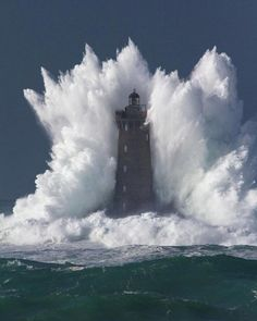"""Places wow on Instagram: """"Waves bash against stunning lighthouse. Location : Presqu'île Saint-Laurent, Porspoder, France photo by ©Fabrice Robben #Places_wow"""""""