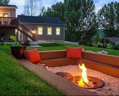 This time of year makes the most sense to have a fire pit in your backyard or outdoor living area. A fire pit with cozy seating area will be a perfect centerpiece of your backyard paradise. For before(Favorite Spaces Outdoor Living) Diy Fire Pit, Fire Pit Backyard, Cozy Backyard, Sunken Fire Pits, Diy Backyard Ideas, Sunken Patio, Patio Ideas, Sloped Backyard, Sunken Garden