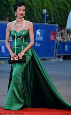 A vision: The screen star looked a breathtaking as she took to the carpet at first
