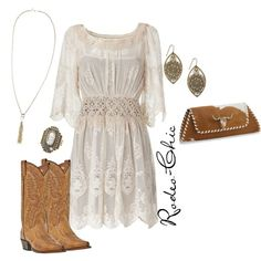 Rodeo-chic on Polyvore, Lace dress with Dan Post cowboy boots @danpostbootco; earrings @modcloth; animal print, western, country