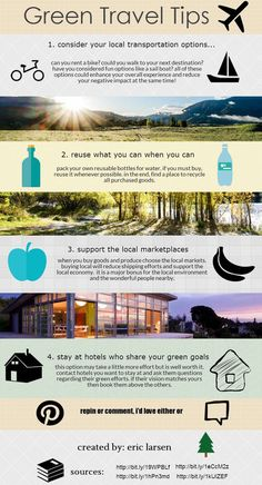 Info graphic on how to green up your next travel adventure!