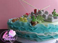 Birthday Cakes - k-cakes Fishing Day Cake Duck Cake Bridge Fondant Wave Cake Wave Cake, Duck Cake, Cupcake Cakes, Cupcakes, Sugar Paste, Birthday Cakes, Fondant, Bridge, Miniature
