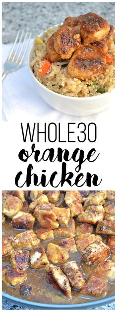 This Orange Chicken will make you forget about Panda Express! Orange Juice brings sweetness with no added sugar and coconut flour breads the chicken perfectly for a guilt free chinese dish! Whole30 approved & Paleo! (Orange Cauliflower Recipes)