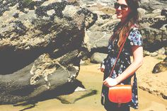 Enjoy dress and {Think} Boutique bag at Bedruthan Steps, Cornwall