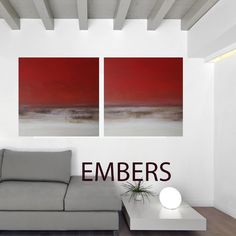 Textured abstract landscape on canvas - diptych 30 x 60 EMBERS by KR Moehr