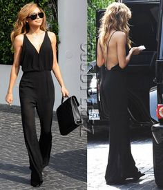 Get Naya Rivera's Hot Backless Jumpsuit For Only $40! >>> http://www.pariscoming.com/en-lace-backless-black-jumpsuit-p158125.htm