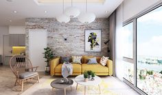 A distressed brick wall need not be painted or smoothed. Let its character shine with dainty crafted décor, like this mustard couch and fanned cane chair.