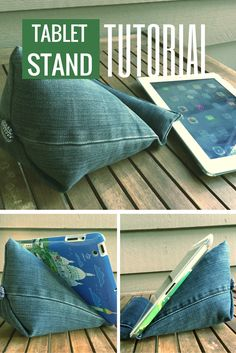 Tablet stand tutorial made with the leg of a pair of jeans