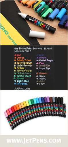 Individual colors of Uni Posca PC-5M Paint Markers are now available! These medium tip markers can write on many surfaces, from paper and photos to glass, wood, and metal.