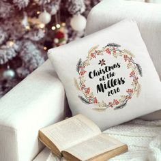 Christmas Wreath Personalised Cushion Cover