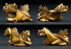 Colombia | Zoomorphic pendant.  Cast gold, using the lost was method | Tairona Region Bellavista Magdalena, 800 - 1500 AD | 15000€ ~ sold