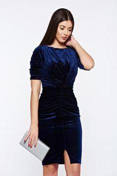 Artista darkblue occasional dress from velvet with small beads embellished details Next Fashion, Trendy Dresses, Occasion Dresses, My Design, Dark Blue, Classy, Velvet, Beads, Detail