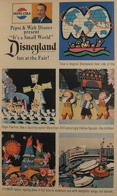 1964 1965 New York Worlds Fair Disneyland Pepsi Cola Vintage Illustration Advertisement by Christian Montone Walt Disney, Disney Love, Disney Magic, Disney Parks, Disney Cast, Disney Stuff, Disney Theme, Small World Disneyland, Vintage Disneyland