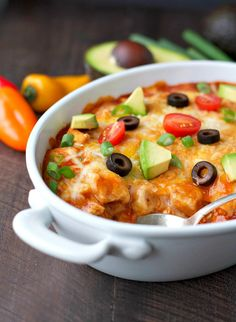Dump-and-Go Healthy Chicken Enchilada Casserole | This healthy casserole recipe is perfect for busy nights!