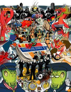 Eine Abschiedsillustration, gebaut aus vielen FTD-Illustrationen der Vergangenheit, von unserem Kollegen Malte Knaack (http://www.malteknaack.com)